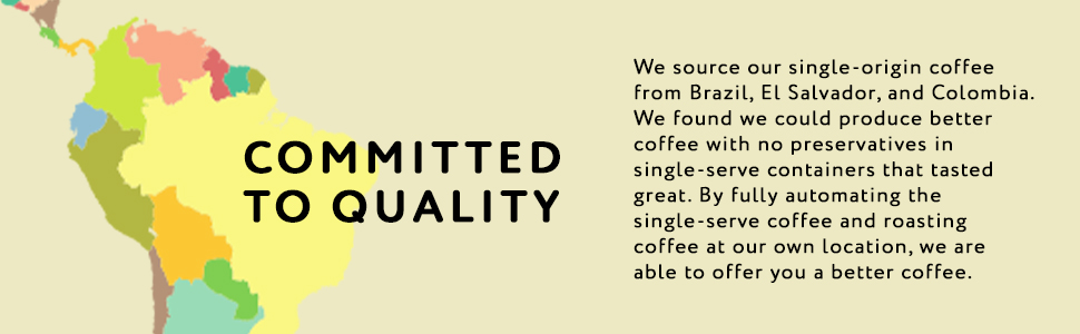 Barista Joe's single-origin coffee sourced from Brazil, El Salvador, and Colombia