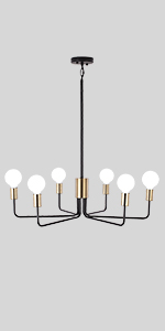 JDfeiFFF Modern Chandelier Gold amp; Black Pendant Ceiling Light (6-Light)