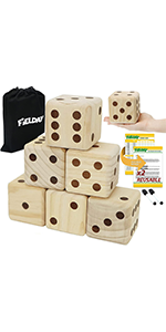 Large Dice Game Set with 6 Wooden Dice