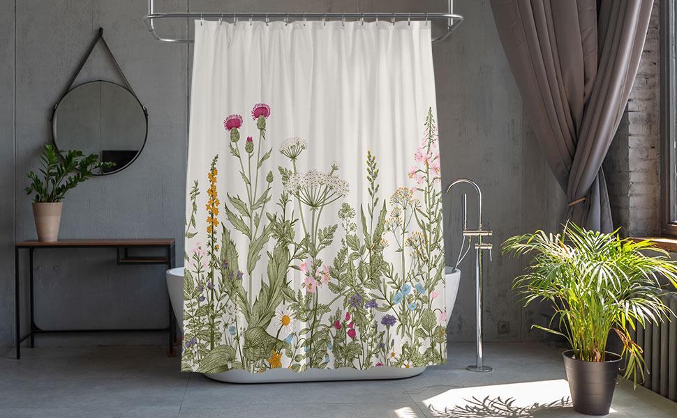 vintage floral shower curtain flower shower curtain botanical shower curtain plant shower curtain