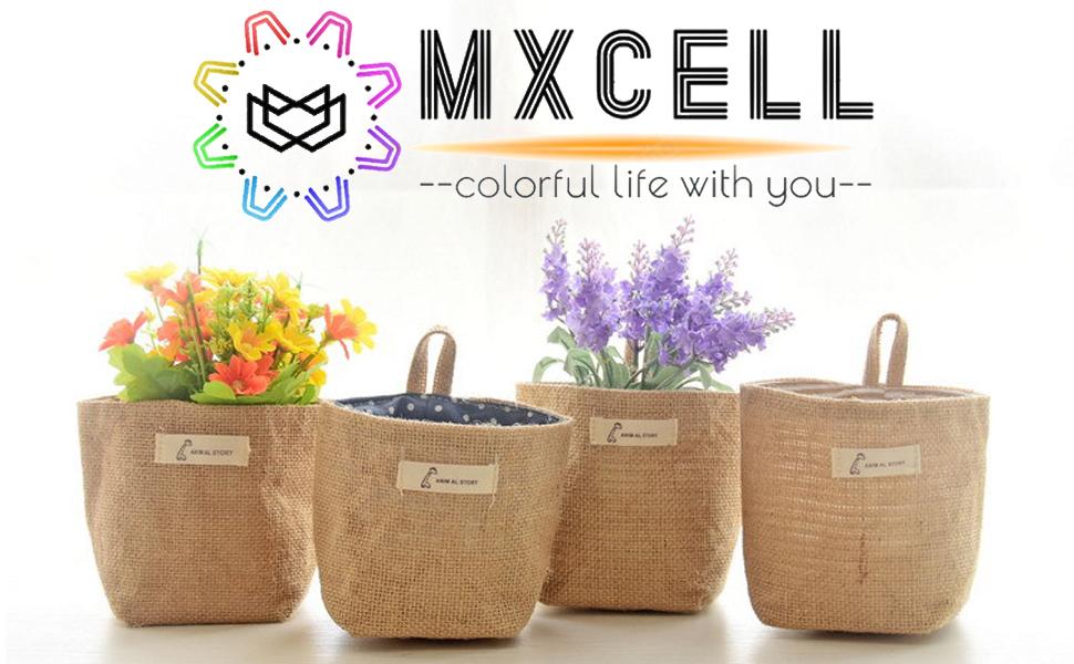 MXCELL Mini Hanging Storage Bag Cotton Linen Small Organizer Storage Basket