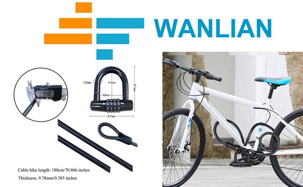 Bicycle lock cable, bicycle chain lock,  bicycle lock, 4-position padlock,