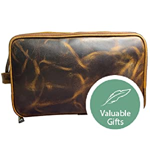 premium quality genuine vintage Leather Toiletry Bags Men Dopp Kit Travel gift travel accessory