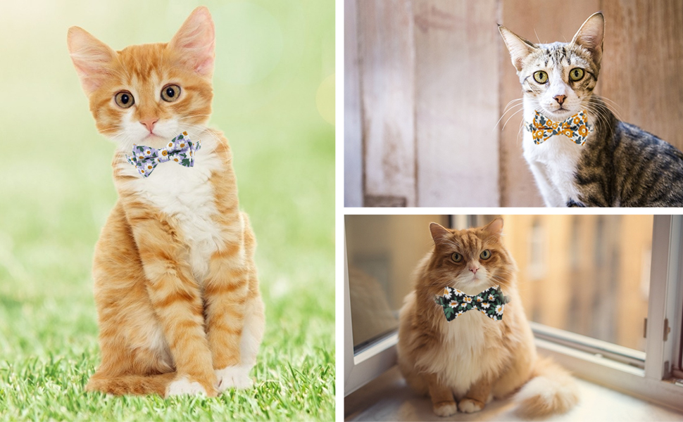 Breakaway Cat Collar Bow Tie Floral Patterns Kitty Adjustable Safety Collars for Cats or Small Dogs