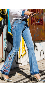 women embroidery bell bottom jeans