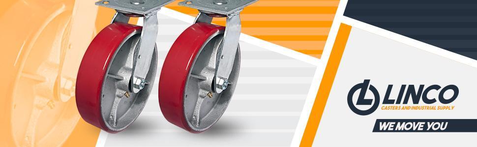 Linco 8 inch Heavy Duty Polyurethane Caster Wheel