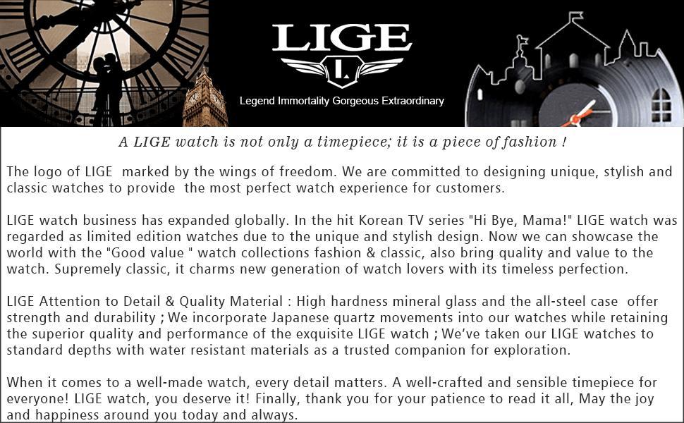 LIGE Mens Watch