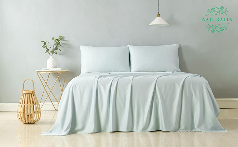 bamboo bed sheets blue