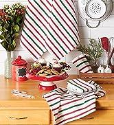 Holiday stripes dishtowel and dishcloth set