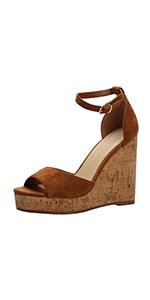Women Platform Sandals Wedge Ankle Strap Open Toe Sandals
