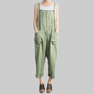 green Women's Loose Baggy Linen Cotton Summer Overalls