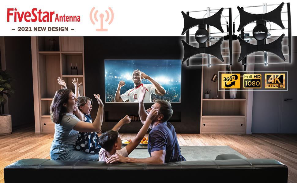[Newest 2021] Five Star Multi-Directional 4V HDTV Antenna - up to 200 Mile Range