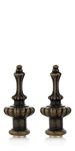 Antique brass lamp finials, lampshade finials