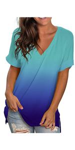 Women V Neck Short Sleeve T Shirts Blue