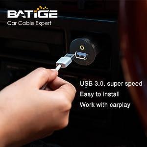 BATIGE - USB 3.0 amp; 3.5MM CAR MOUNT FLUSH CABLE 3FT speed
