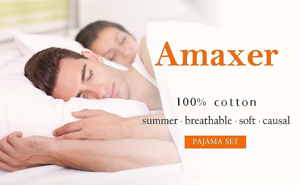 Amaxer 100% cotton pajama set summer breathable soft causal