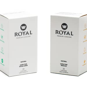 Royal regular tailored fit ultra thing condom box and extra large ultra thing condom box