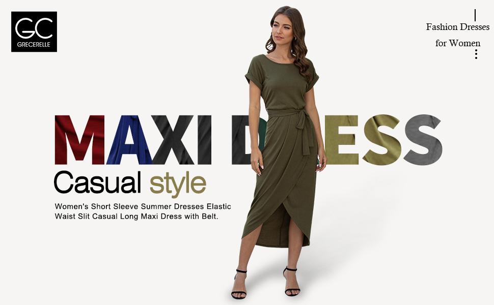 Women Short Sleeve Summer Dresses Elastic Waist Slit Casual Long Maxi Dress with Belt