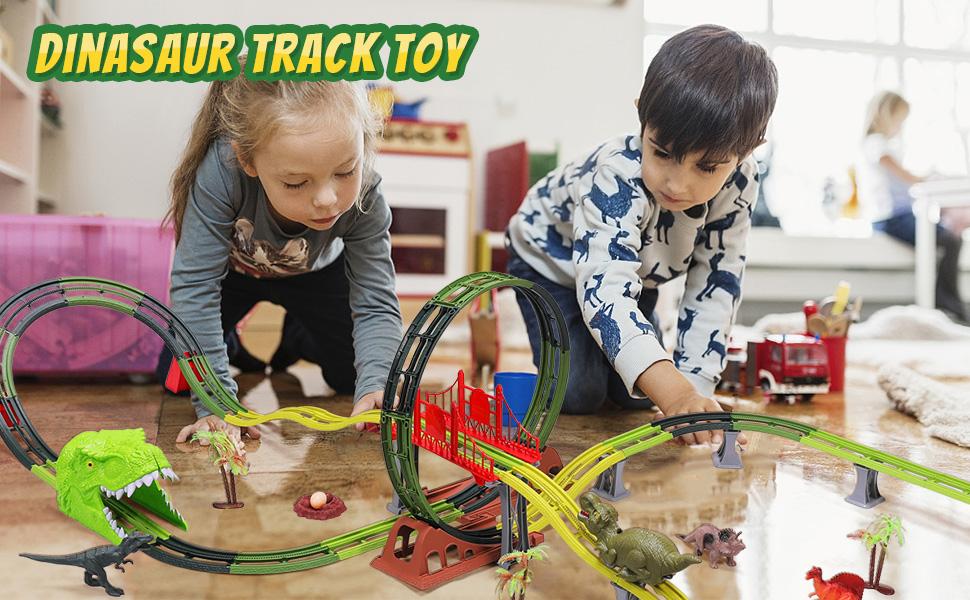 Dinasors Race Track Toys Track Toys for Kids Flexible Track