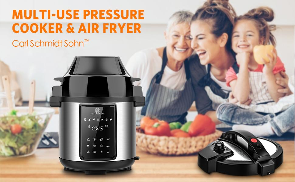 Carl Schmidt Sohn 6.5qt pressure cooker air fryer lid multi cooker
