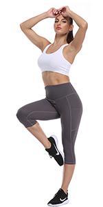 UURUN High waist tummy control  womens yoga capris leggings pants with pockets