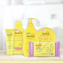 Een selectie van Zwitsal babyverzorgingsproducten, met o.a. shampoo, bodylotion en zachte crème