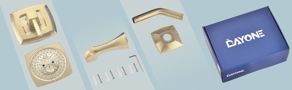 Champagne Gold Brass Bathroom Tub Shower Faucet Complete Set with Valve