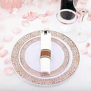Rose gold plastic plates