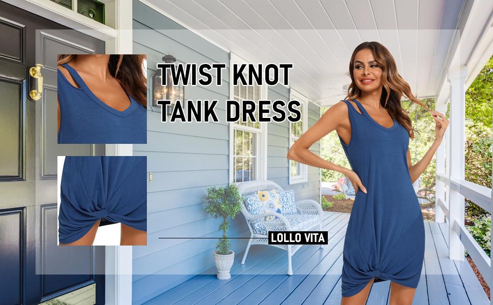 LOLLO VITA Womens Tank Tops Twist Knot Midi T-Shirt Tunic Dress
