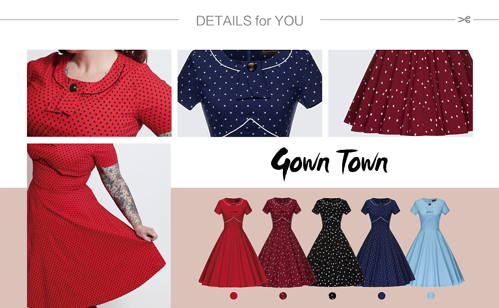 O neckline deco with bowknot, waist down flowy skirt with pockets