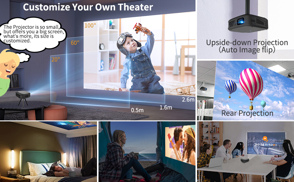portable projector for movie, camping, small meeting