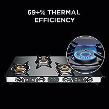 Preethi Blu Flame Glass Top 4 Burner Gas Stove, Manual Ignition, Black1