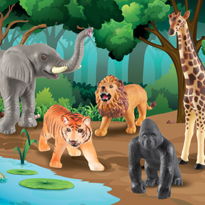 .Realistic jungle animals lion tiger gorilla elephant giraffe play vocabulary development