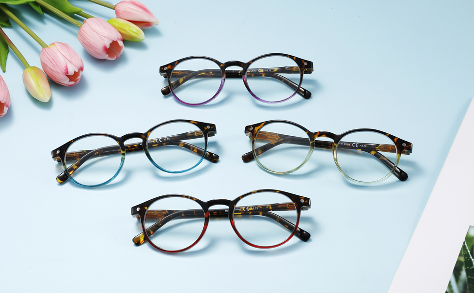 round reading glasses for women cute lightweight trendy readers eyeglasses