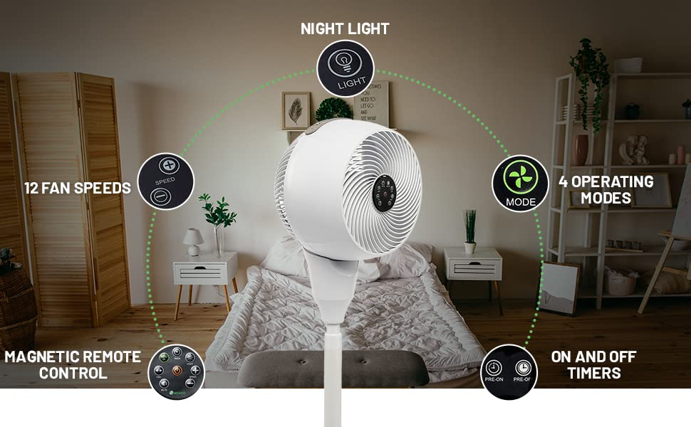 pedestal fans standing cooling remote control tall silent quiet rechargeable circulator oscillating