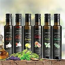 Vervana flavored olive oils: garlic, jalapeno garlic, lemon, blood orange, basil, rosemary