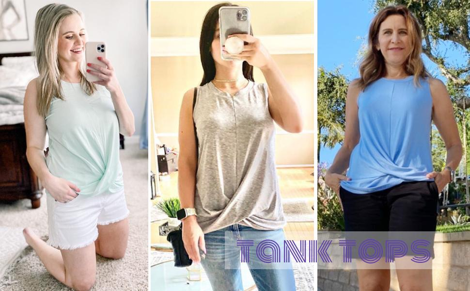 Casual Tank Tops for Women Summer Sleeveless T Shirts Loose Fit