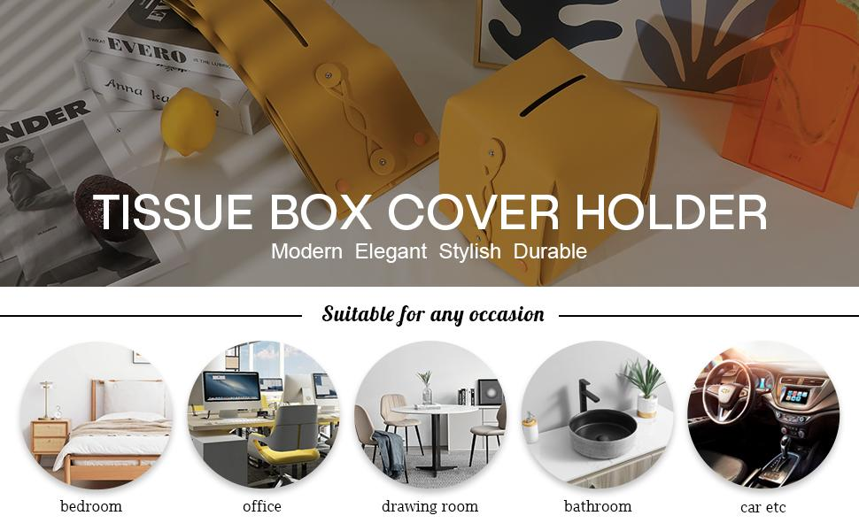 leather tissue box cover square