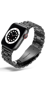 Business stainless steel for apple watch band Black