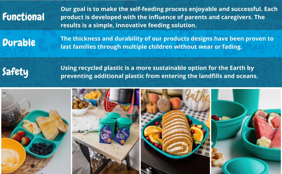 teal kids recycled plastic tableware