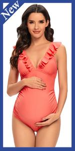 Maternity Ruffle V Neck Swimwear