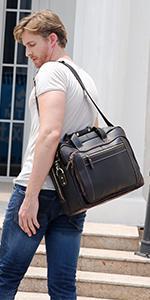 Genuine Leather Briefcase for Men Vintage 17 Inch Laptop