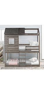 twin over twin bunk bed with roof