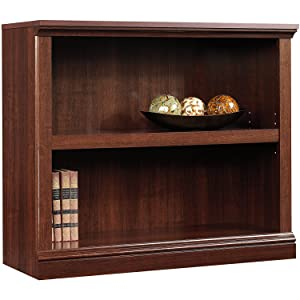 Pemberly Row 2 Shelf Bookcase TV Stand Console Wood Storage Easy Assembly in Cherry Finish