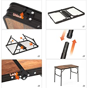 Naturehike Folding Table Portable Lightweight Adjustable Aluminum Height Camping BBQ RV Party Picnic