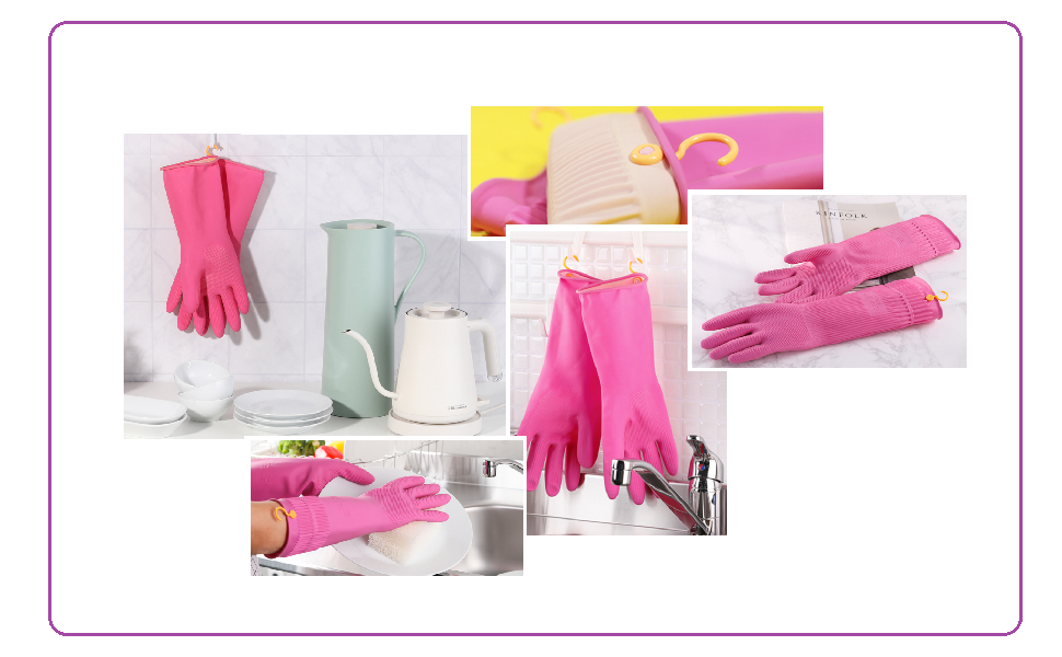 Rubber Gloves with Hang Dry Hook