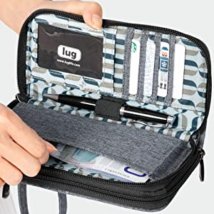 wallet with pen cards and cash