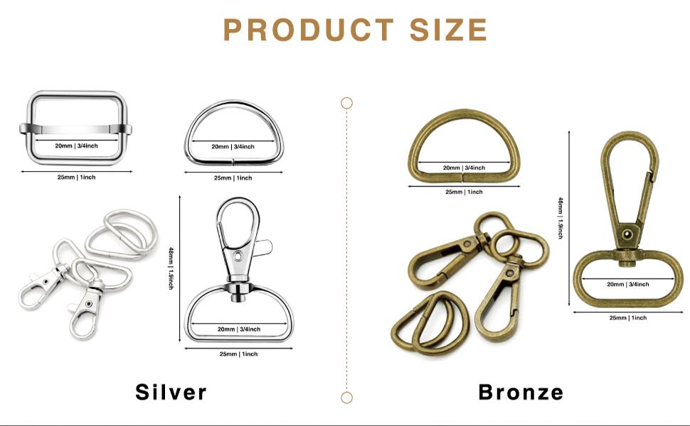 size swivel hooks for purses