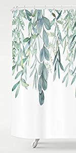 green plant leaves shower curtain