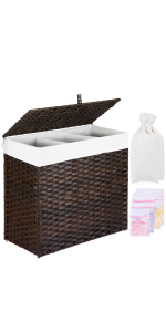laundry hamper 3 section with lid